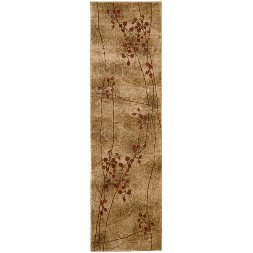 2' x 5'9ft Indoor Beige Brown Burgundy Purple Vine Floral Hallway Rug Long Entryway Carpet Entraceway Foyer Violet Flower Petals Polyester Acrylic - Diamond Home USA
