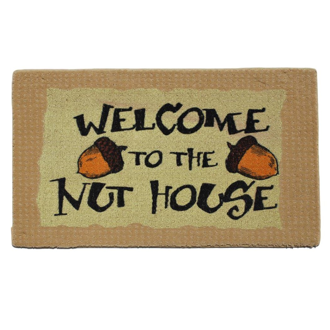 "Door Mats Attitude "" Welcome Nut House"" Humorous Welcome Mats Cute Funny Indoor Use Rectangle Novelty - Diamond Home USA"