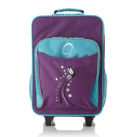 4a92b527bb Girls Purple Blue Butterfly Themed Wheeled Upright Rolling Suitcase Stylish  Animal Carry Kids Travel Suit Bag Wheels Wheeling Luggage Fashionable