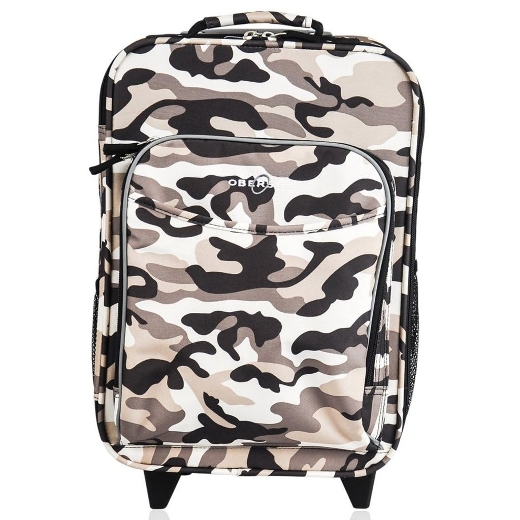 Kids Black White Camouflage Carry Suitcase Camo Army Themed Luggage - Diamond Home USA