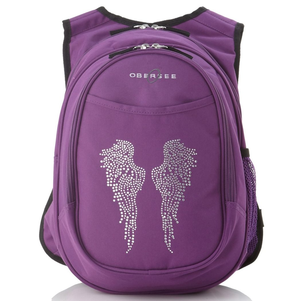 Girls Purple Angel Wing Backpack Cute Rhinestone Violet Wings Themed Carry - Diamond Home USA