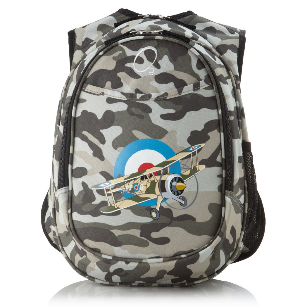 Boys Camo Army Air Plane Backpack Grey White Black Gray Camouflage Themed - Diamond Home USA