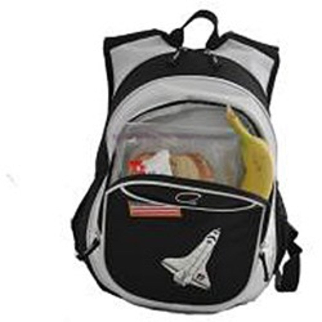 Boys Black White Spaceship Backpack Kids Rocket Ship Space Themed American Flag - Diamond Home USA