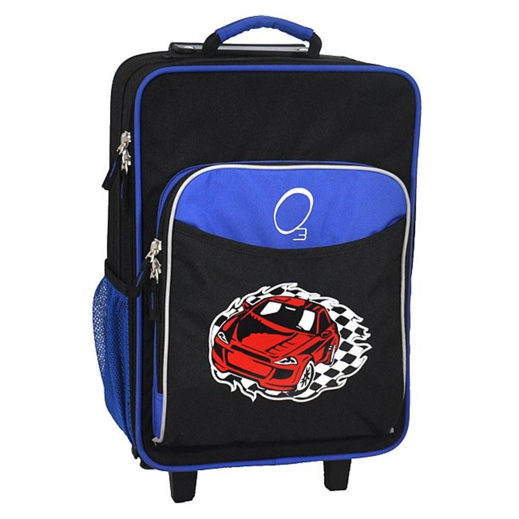 Boys Red Race Car Carry Suitcase Blue Trim Cars Checkered Flag Themed Luggage - Diamond Home USA