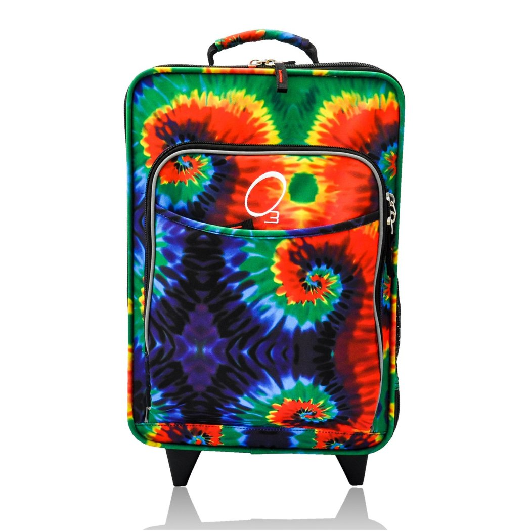 Kids Rainbow Tie Dye Themed Carry Suitcase Multicolor Happy Good Vibe Luggage - Diamond Home USA