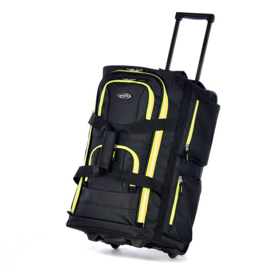 Wheeled Duffle Bag Carry Pocket Rolling Upright Telescoping Handle Softside Utility Polyester Vibrant Green