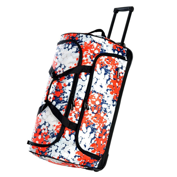 White Small Wheeled Duffel Bag Graphics Pattern Carry Fabric - Diamond Home USA