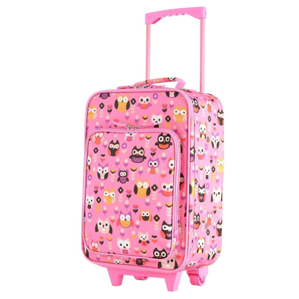 Girls Cute Pink Floral Owl Carry Suitcase Bird Flower Heart Themed Luggage - Diamond Home USA
