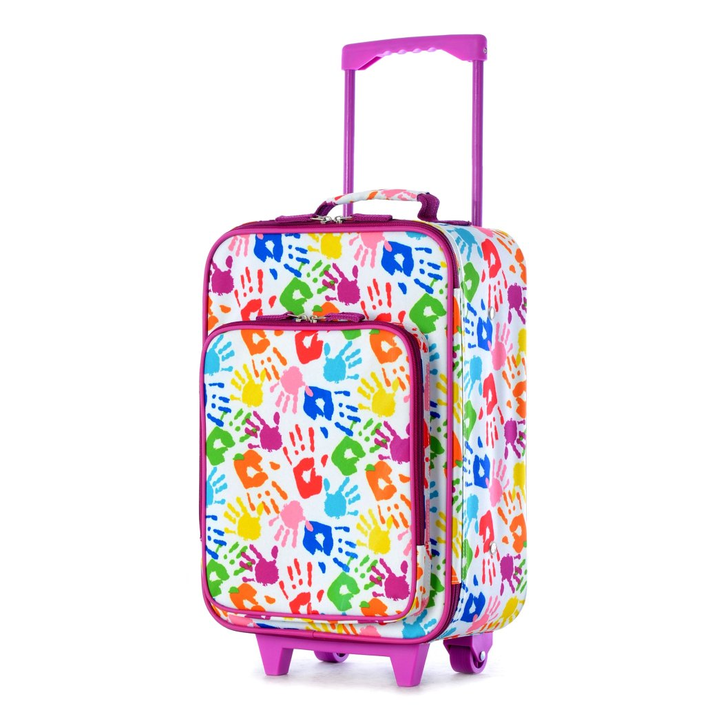 Girls Rainbow Colored Hand Prints Suitcase Colorful Kids Luggage Paint Artistic - Diamond Home USA