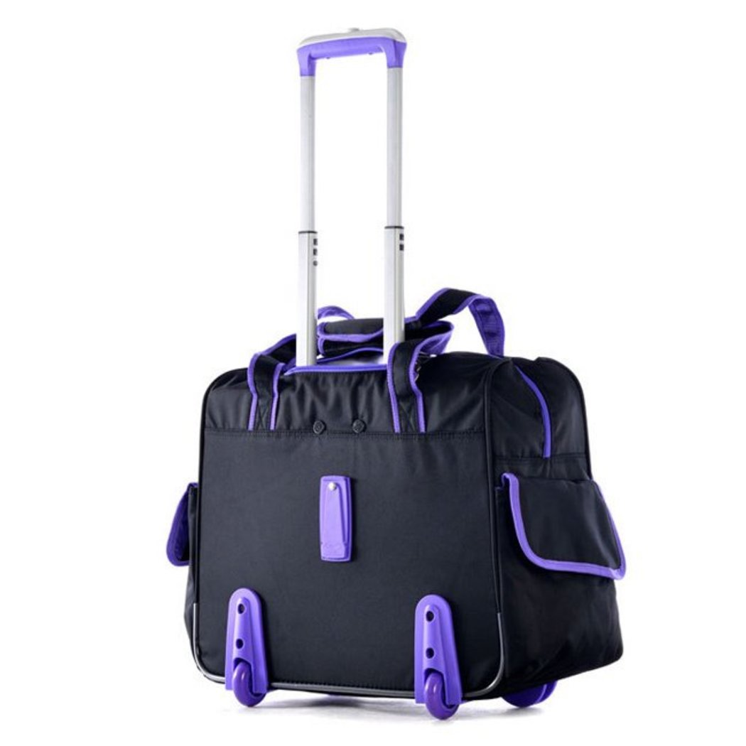 Stylish Rolling Duffel Bag Carry Roller Luggage Trim Duffle Tote