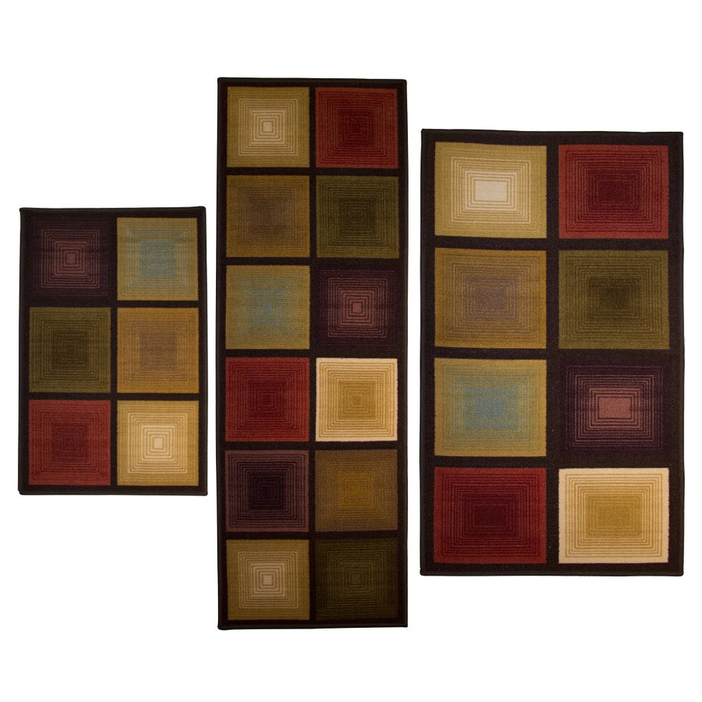 Optic Squares 3 piece Rug Set Features Unique Eye Catching Design - Diamond Home USA
