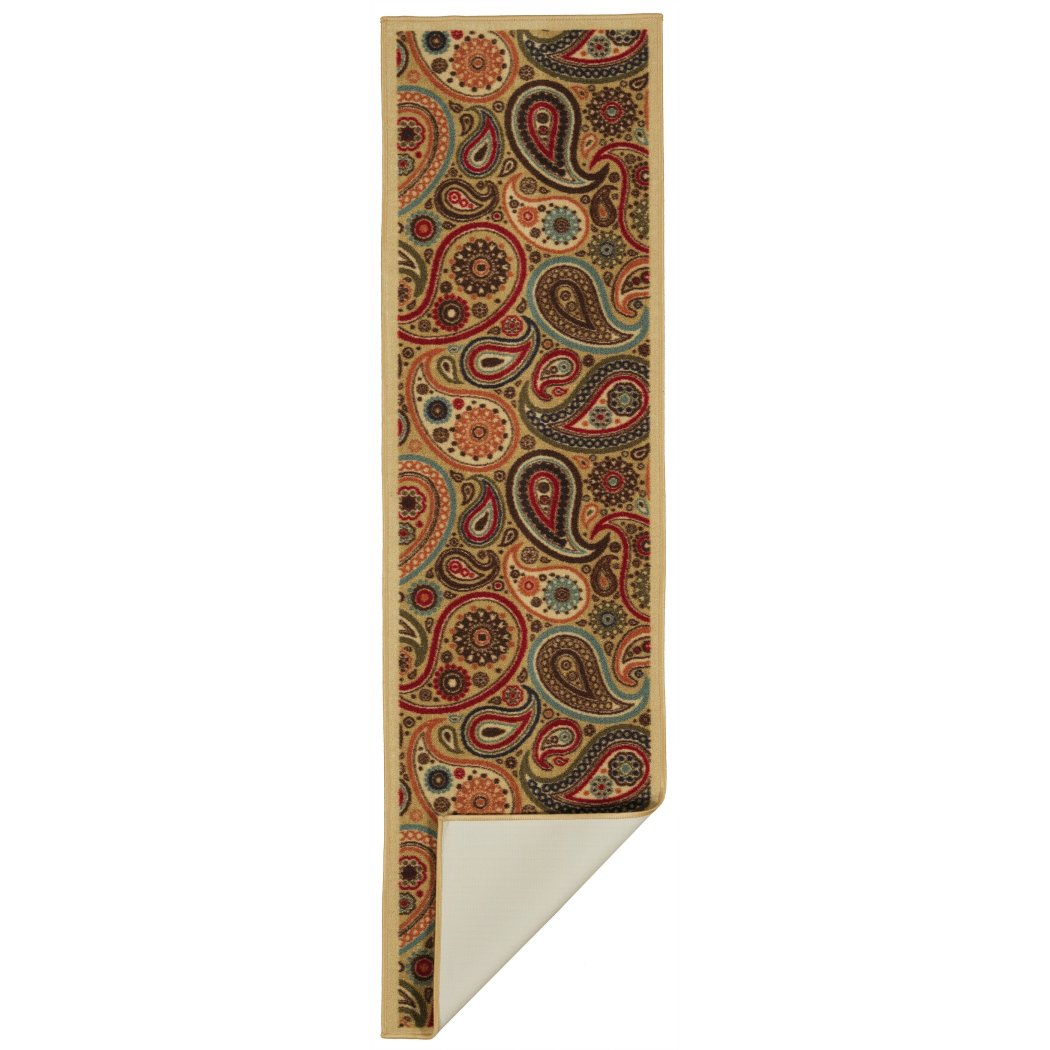 Hand Tufted Beige Floral Runner Rug Gorgeous Paisley Pattern Country Traditional Royal Oriental Hand Work Design Beige - Diamond Home USA