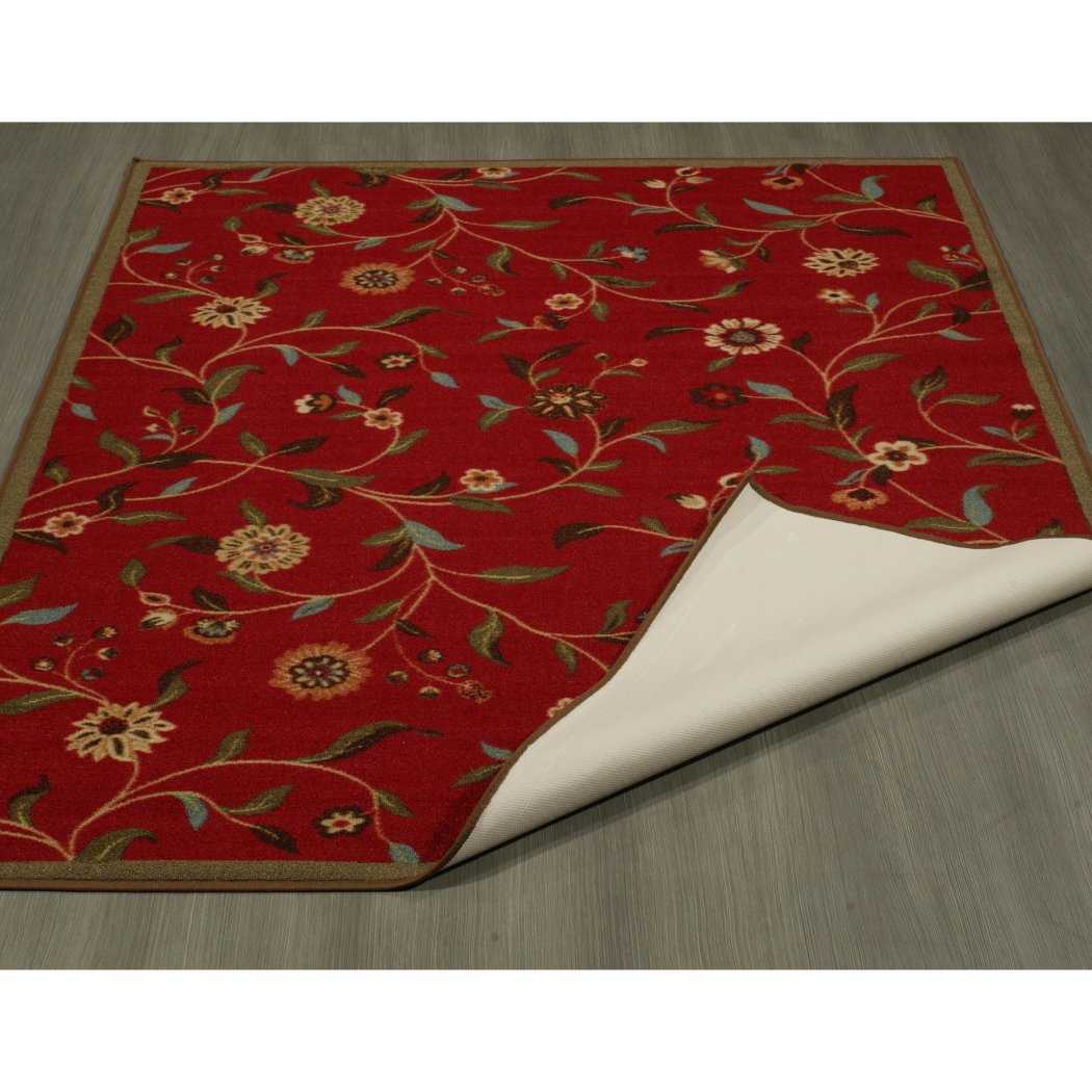 "3'3""x5' Red Gold Green Flower Leaf Printed Area Rug Indoor Floral Pattern Living Room Rectangle Carpet Nature Art Themed Vibrant Color Soft Synthetic - Diamond Home USA"