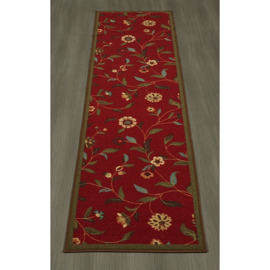 "1'10""x7' Red Flower Printed Runner Rug Indoor Floral Pattern Living Room Rectangle Carpet Graphic Art Themed Vibrant Color Soft Synthetic Modern - Diamond Home USA"
