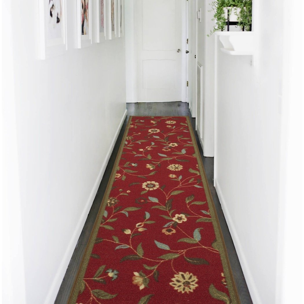 Hand Tufted Red Floral Runner Rug Gorgeous Flowers Pattern Country Traditional Royal Oriental Hand Work Design Red Blue Green - Diamond Home USA