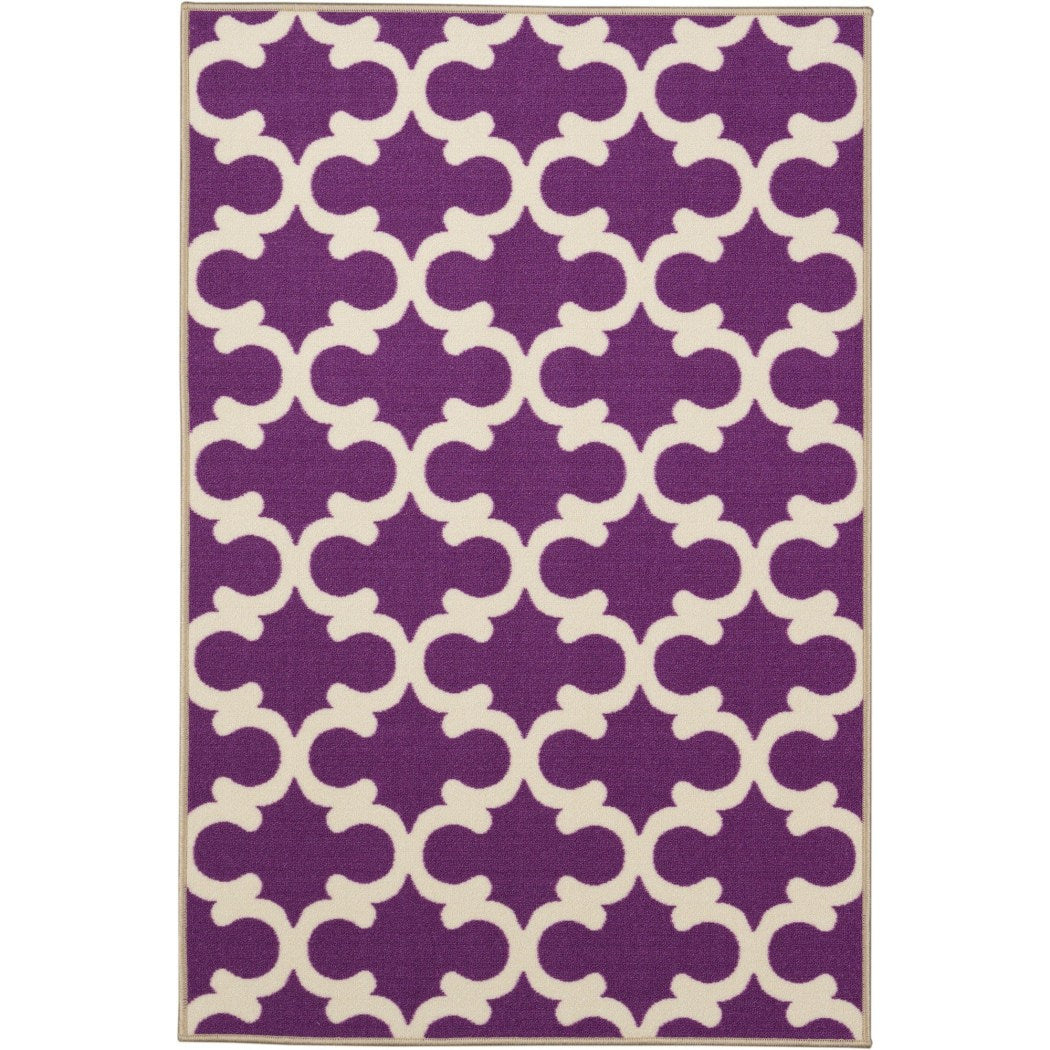 Crafted Purple Geometric Pattern Area Rug (3'3 x 5') Gorgeous TrellisTexture Design Persian Luxurious Comfort White Plum Colored Floor Carpet - Diamond Home USA