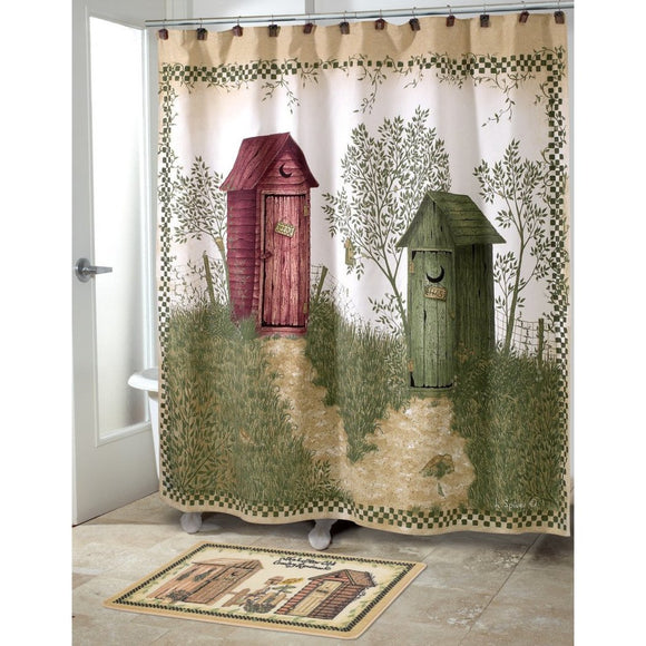 Red Green Outhouse Motif Themed Shower Curtain Vivid Color Nature Graphic Design Polyester Detailed Colorful Cabin Printed Classic Outhouse Motif - Diamond Home USA
