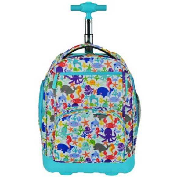 Kids Fun Blue Under Water Backpack Carry Aqua Sea Life Star Fish Crab Themed - Diamond Home USA