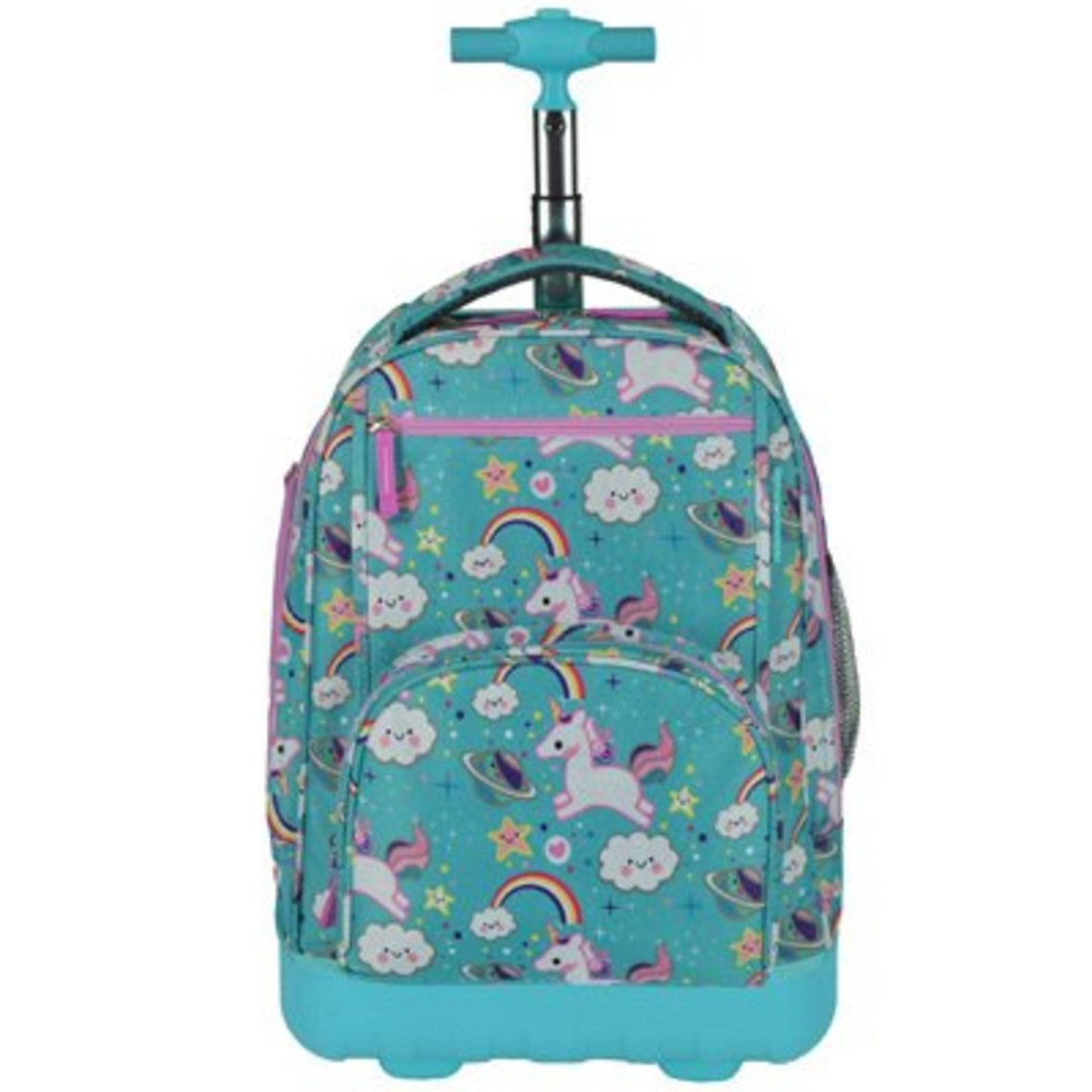 Girls Cute Unicorn Themed Luggage Blue Aqua Rolling Backpack Rainbows Carry Bag - Diamond Home USA