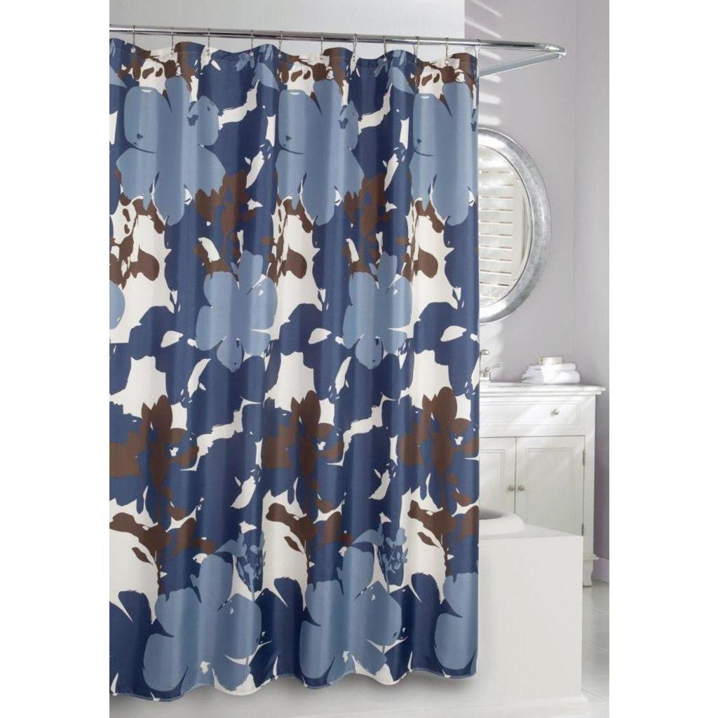 Navy Blue Brown Graphical Nature Themed Shower Curtain Polyester Detailed Flower Splatters Printed Abstract Floral Pattern Classic Elegant Design Rich - Diamond Home USA
