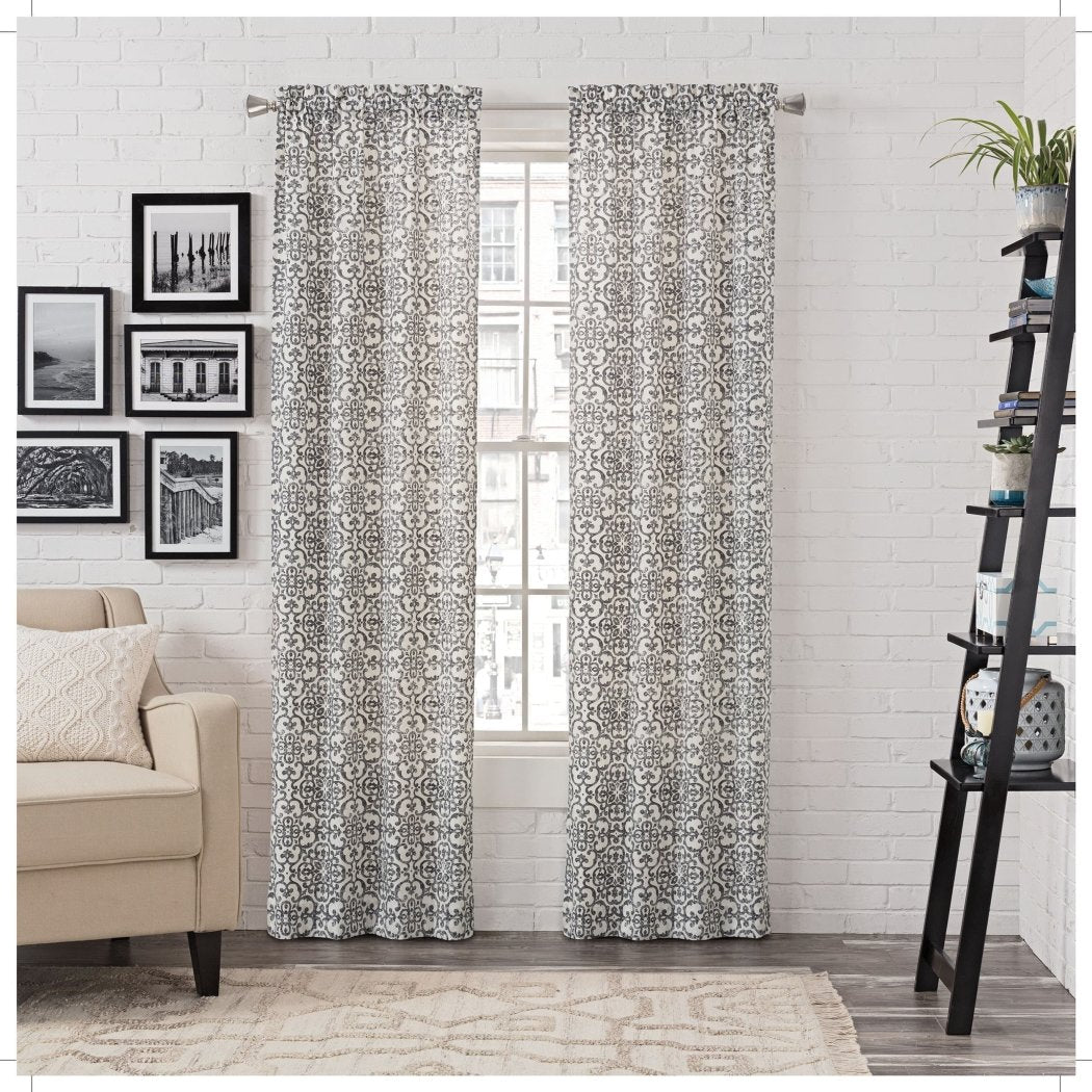 Medallion Window Curtain Set Damask Drape Room ening Geometric Filigree Rococo Window Treatme Drapery