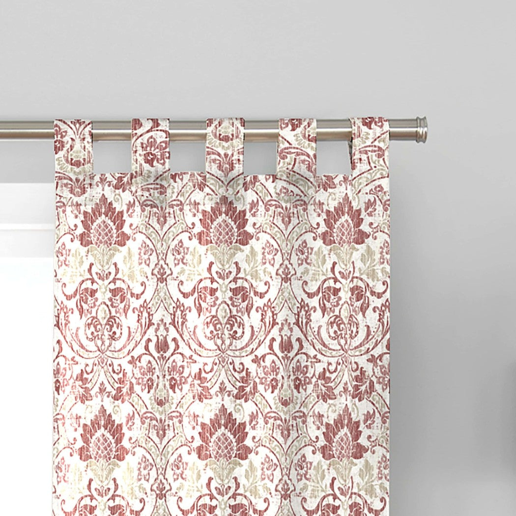 Damask Window Curtain Set Floral Drape Flower Bohemian Baroque Rococo Pine cone Distressed Drapery Contemporary