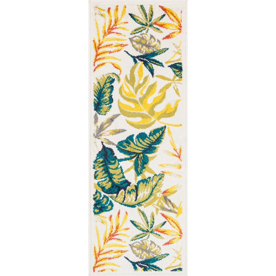 1'8 x 4'11 Yellow Blue Tropical Theme Runner Rug Rectangle Indoor Green Beige Beach Themed Hallway Carpet Palm Tree Flower Pattern Nautical Coastal - Diamond Home USA
