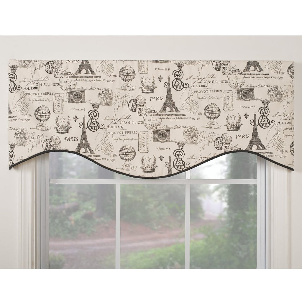 Girls Paris Themed Valance M Shaped Valance Window Top Treatment Eiffel Tower Pattern France Inspired Retro French Lined Traditional Parisian Cotton - Diamond Home USA