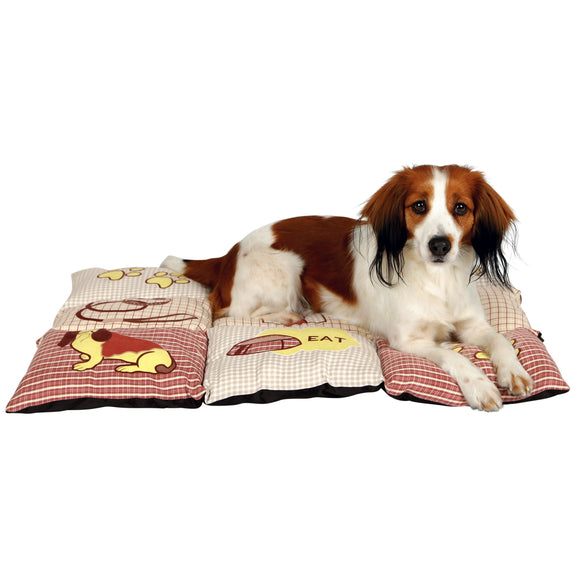 TRIXIE Patchwork Red/Beige Quilted Pet Bed Machine Washable - Diamond Home USA