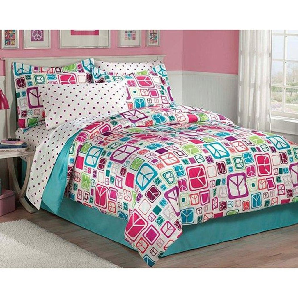 Rainbow Peace Sign Theme Comforter Twin Cute Love Square Pattern Bedding Girly Groovy Hippie Themed Stylish Polka Dot Bedding Pink Purple Blue Green - Diamond Home USA