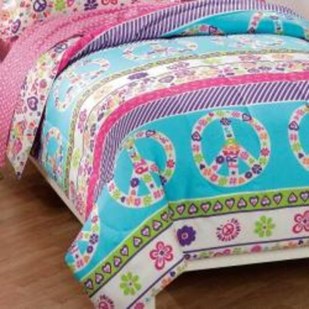 Girls Peace Comforter Set Peace Sign Love Flowers Floral Love Themed