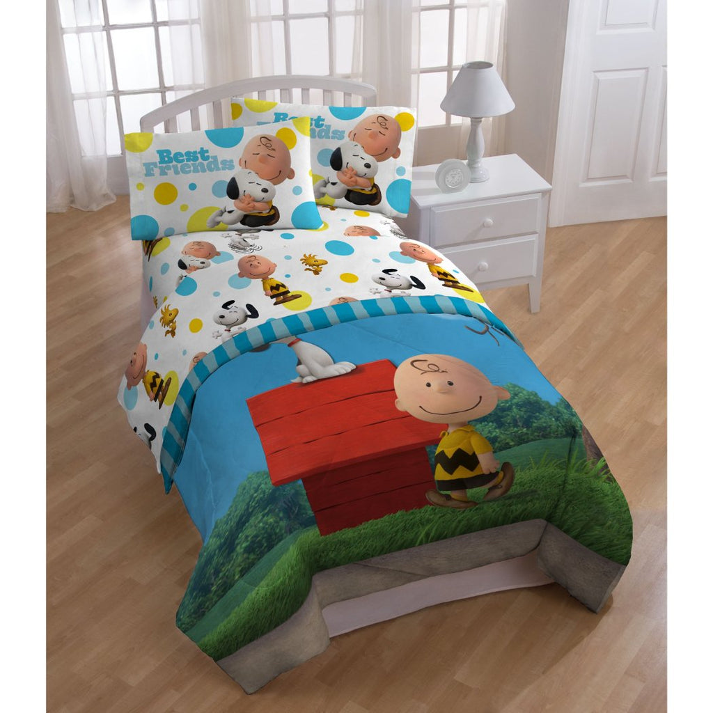 Kids Peanuts Movie Themed Comforter Twin Set Cute Fun Charlie Brown Best Friends Snoopy Woodstock Bedding Classic Dog House Character Themed Pattern - Diamond Home USA