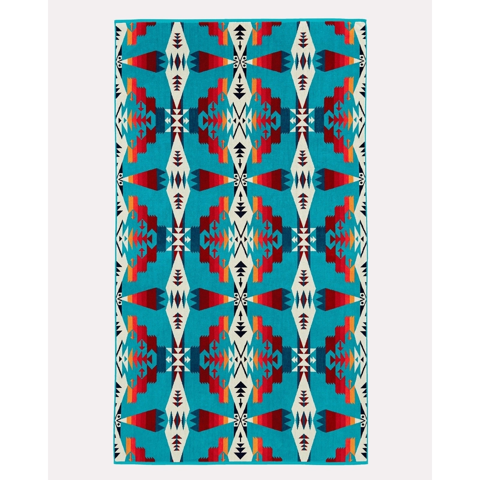 Tucson Tuquoise Ovesized Spa Towel Blue Brown Novelty Cotton Single Piece - Diamond Home USA