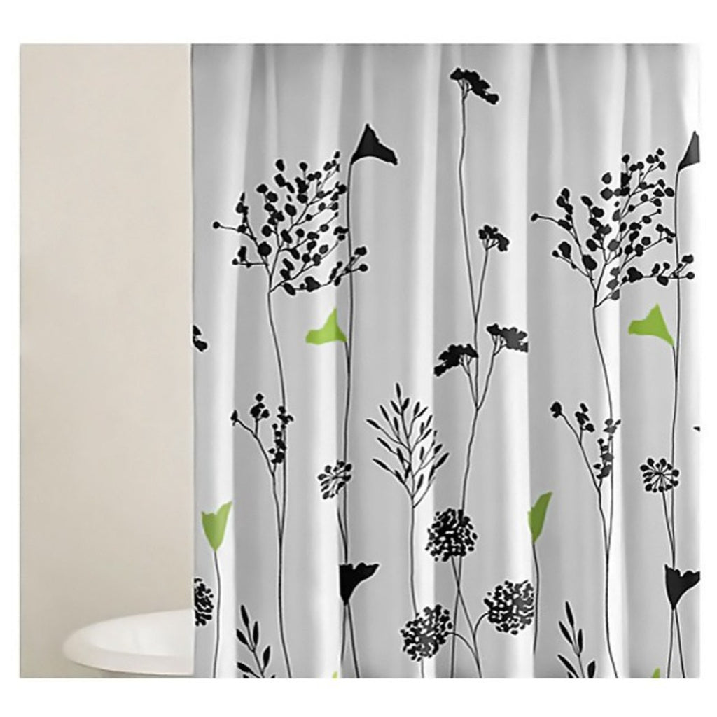 Girls Pretty Asian Lilly Shower Curtain Floral Bathroom Pattern Black Green White Flower Chic Girly Neutral
