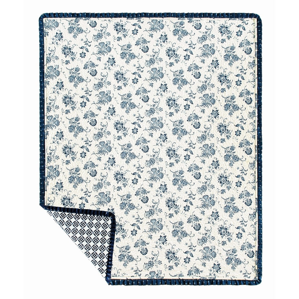Peyton Quilted Throw Blue Floral Victorian Cotton - Diamond Home USA