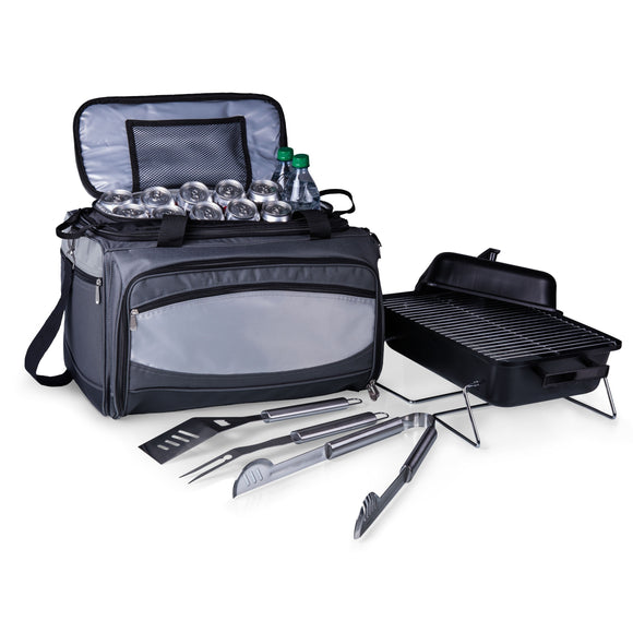 Picnic Time Buccaneer Grill BBQ Tools and Tote Black/ Grey Steel - Diamond Home USA