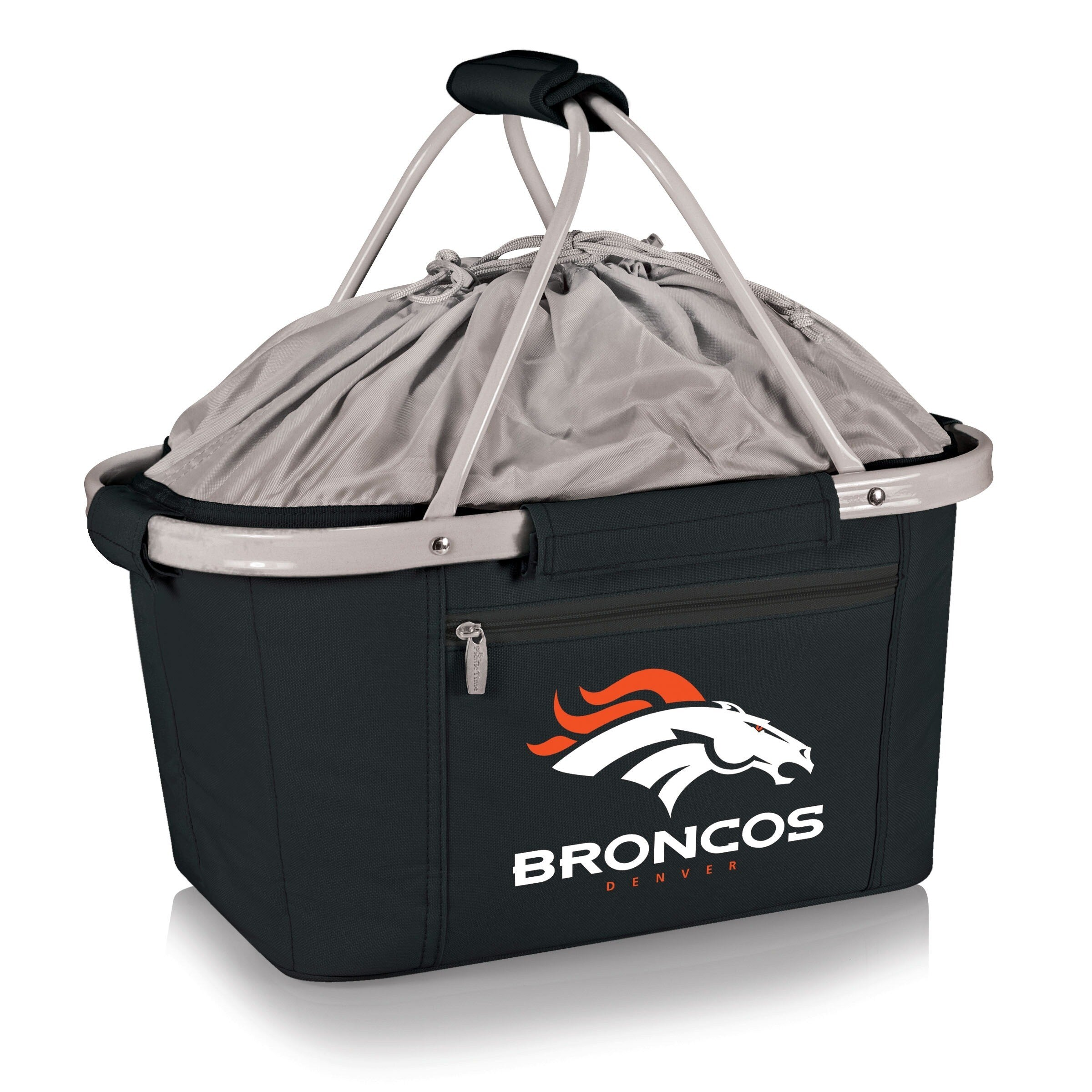 Picnic Time Denver Broncos Metro Aluminum Frame Basket Black - Diamond Home USA
