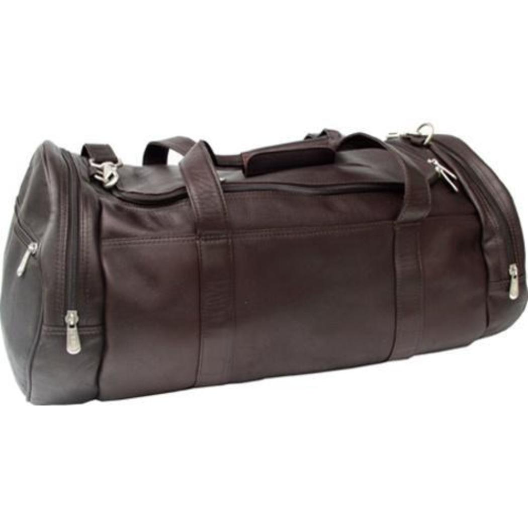 Dark Chocolate Xtra Large Duffle Bag Leather 23 inch Carry Duffel Bag Zip Compartments Both Ends Small Zip Pocket Carry & Mesh Feature Color Brown - Diamond Home USA