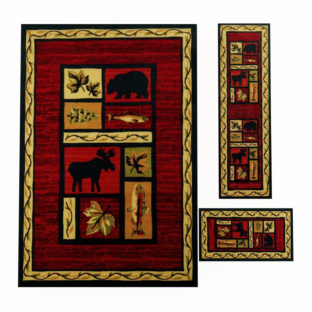 Wildlife Bear Moose Fish Area Rug Set Runner Hunting Themed Floor Mat Rustic Lodge Cottage Carpet Pattern Southwestern Cabin Design Wild Game Red - Diamond Home USA
