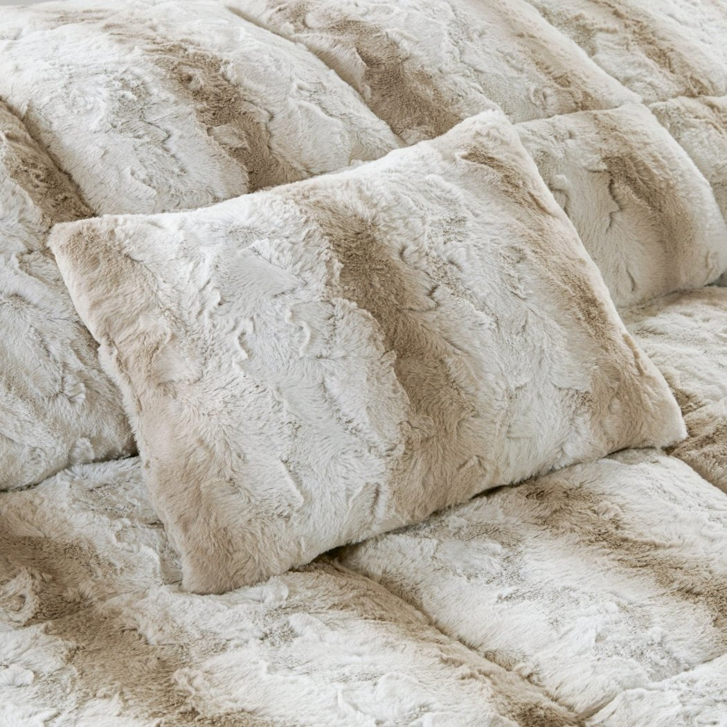 Faux Fur Comforter Set Adult Bedding Master Bedroom Modern Stylish Lu Microfur Pattern Elegant Wild Animal