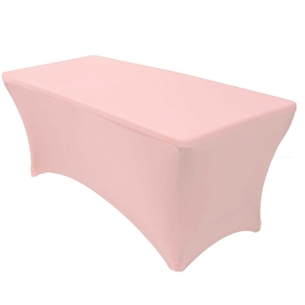 Pink 6' Ft. Spandex Fitted Stretch Table Cover Wedding Solid Formal Modern Contemporary Rectangle Polyester - Diamond Home USA