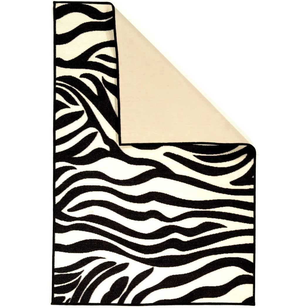 "3'3""x5' Black White Zebra Stripes Printed Area Rug Indoor Outdoor Graphical Pattern Living Room Rectangle Carpet Africa Themed Soft Synthetic Exotic - Diamond Home USA"