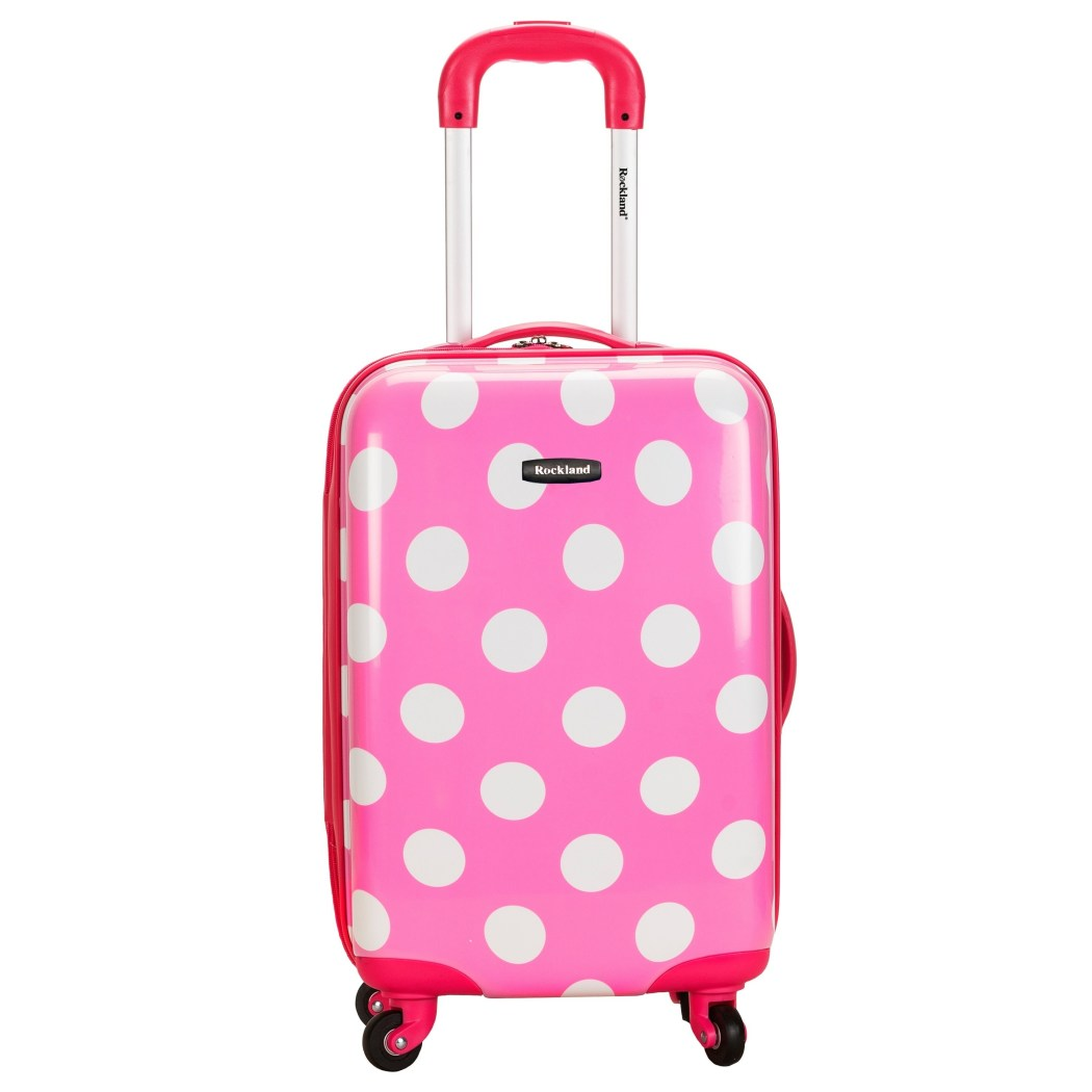 Girls Pink Polka Dots Hardtop Luggage Carry Polkadot White Dot Pattern - Diamond Home USA