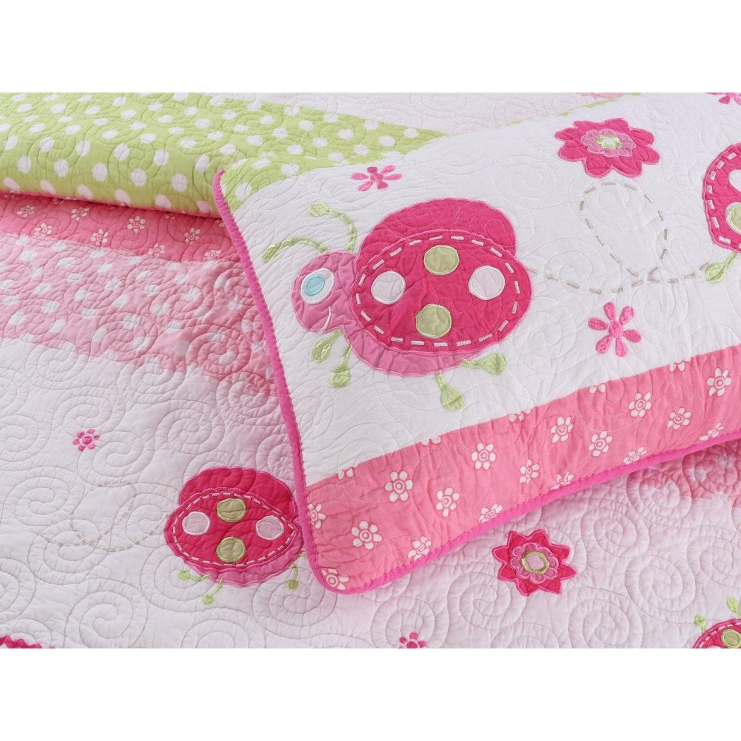 Girls Ladybug Stripes Dot Quilt Set Pretty Girly Horizontal Stripe Polka Dots Floral Bedding Fun Cute Lady Bug Flower Polkadot