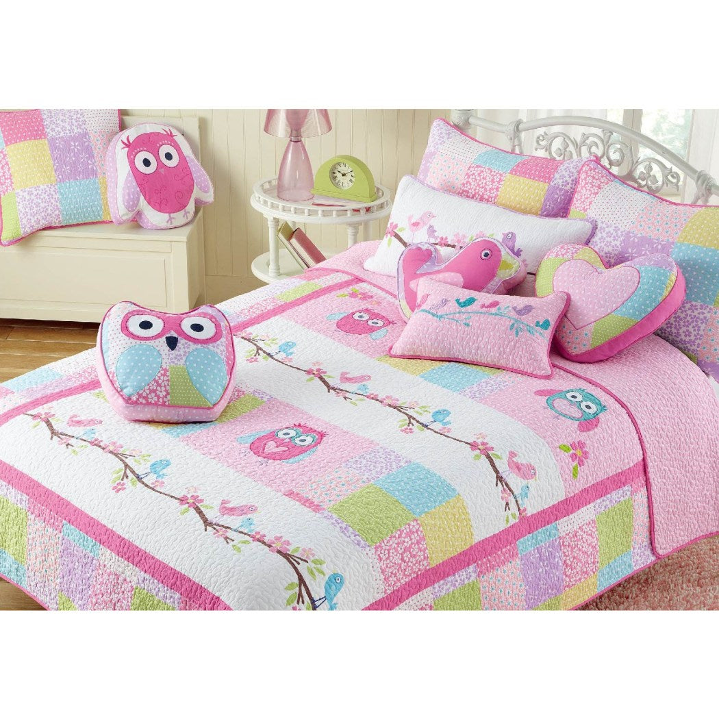Kids Girls Owl Theme Quilt Set Adorable Animal Bedding Nocturnal Birds Floral Pattern Flowers Horizontal Stripes Dancing