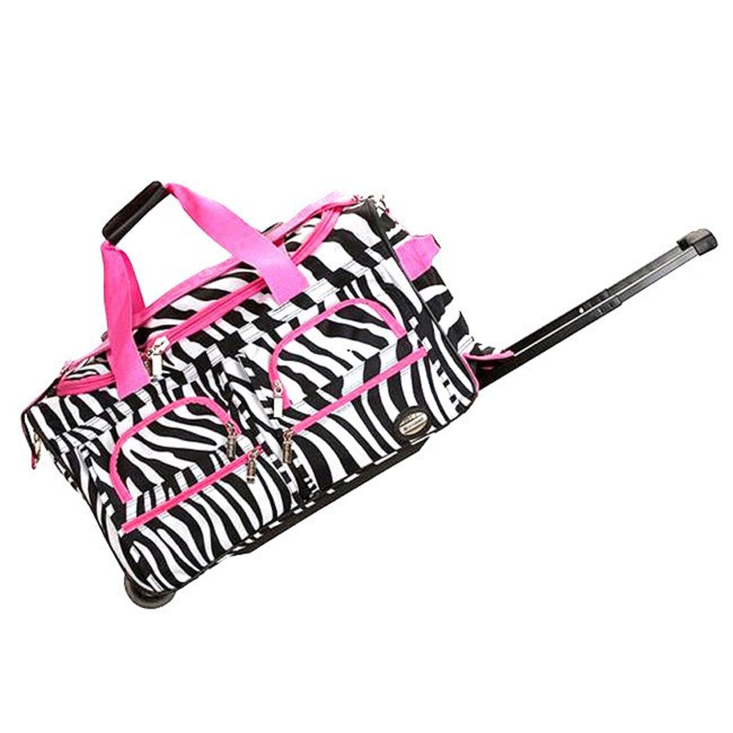 Pink Small Wheeled Duffle Bag Zebra Pattern 22 Inch Carry Rolling Upright Softsided Two Front Zipper Polyester Inline Skate Wheels Luggage U top - Diamond Home USA