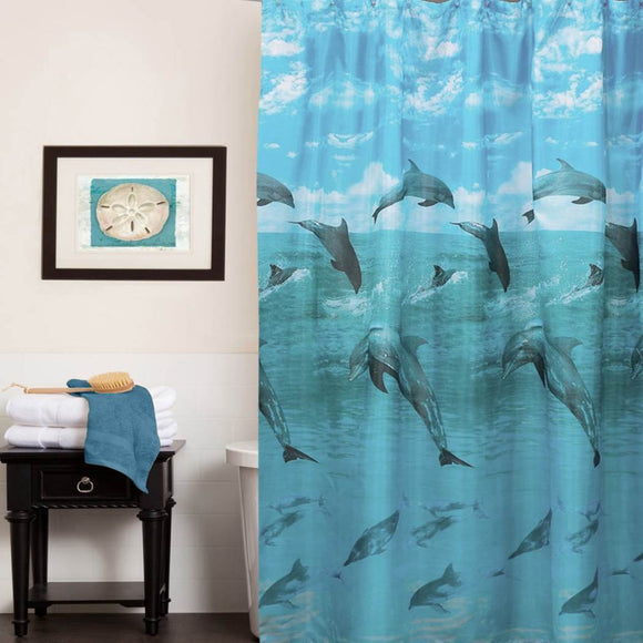 Kids Ocean Blue Graphic Art Themed Shower Curtain Polyester Detailed Colorful Dolphin Sealife Printed Abstract Graphical Pattern Modern Elegant Design - Diamond Home USA