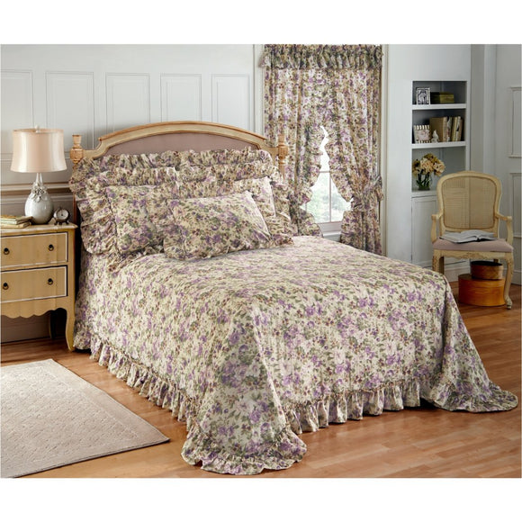 Oversized Bedspread Floor Extra Long Floral Bedding Extra Wide Drops Over Edge Frame Drapes Down Sides Hangs Over Bed