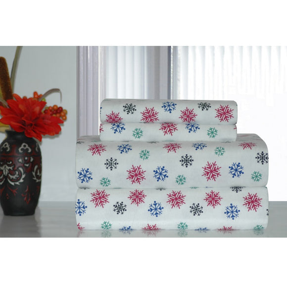 Snowflakes Sheet Set Snow Flakes Pattern Winter Season Theme Bedding Extra Pockety Elasticized Fitted Cotton Flannel