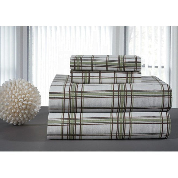 Plaid Sheets Set Classic Checkered Bedding Bold Check Design Casual Country Lodge Bright Soft Cotton